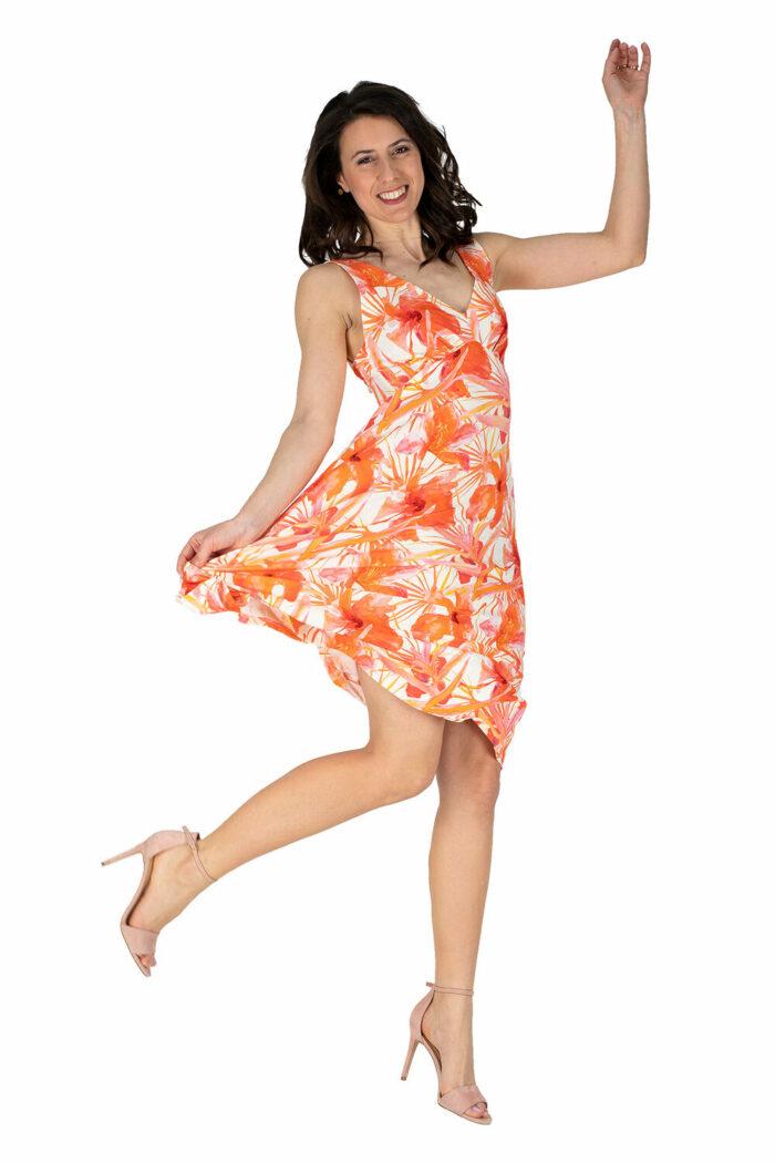 schwingendes Sommerkleid Sylvie in orange Druck